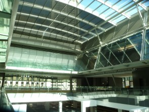 For a recent project 22 moving systems were installed across the atrium roof.